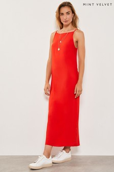 Mint Velvet Red Button Detail Maxi Dress