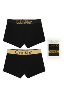 Boys Black Cotton Boxer Shorts Two Pack
