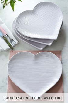 Hearts Set of 4 Dinner Plates