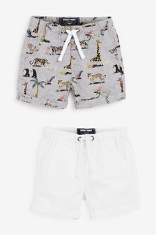 2 Pack Linen Blend Shorts (3mths-7yrs)