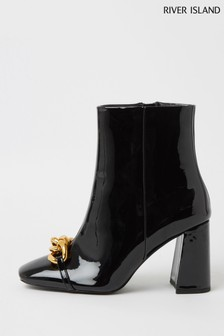 River Island Black Chain Toe Block Heel Boots