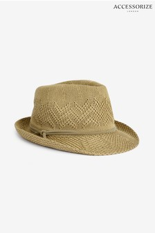 Accessorize Tan Delicate Zig Zag Packable Trilby Hat