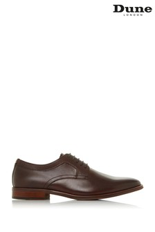 Dune London Stafford Brown Leather Emboss Facing Gibson Shoes