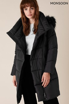 Monsoon Black Patsy Sustainable Long Padded Coat
