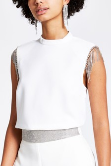 River Island Ivory Structured Shell Top