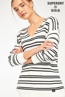 Superdry Cream Stripe Knit Jumper