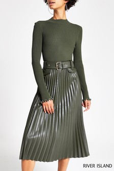 River Island Khaki PU Pleated Midi Skirt