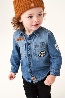 Long Sleeve Denim Monkey Shirt (3mths-7yrs)