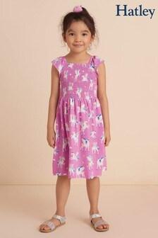 Hatley Magical Pegasus Purple Smocked Dress