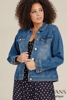 Evans Blue Curve Mid Wash Denim Jacket