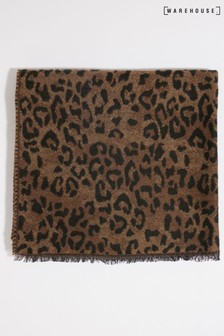 Warehouse Tan Leopard Print Light Scarf