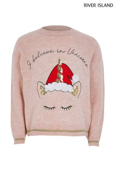 River Island Pink Unicorn Christmas Jumper