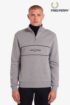 Fred Perry Embroidered Half Zip Sweat Top