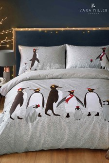 Sara Miller Christmas Penguins Duvet Cover and Pillowcase Set