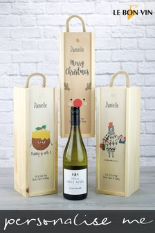 Personalised Sauvignon Blanc Wooden Gift Box by Le Bon Vin