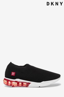 DKNY Black Slip-On Textile Penn Trainers