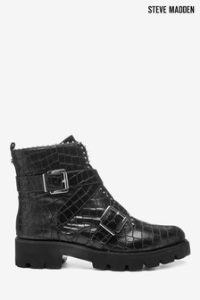 Steve Madden Black Croc Hoofy Boots
