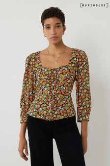 Warehouse Black Daisy Print Square Neck Top