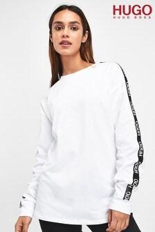 HUGO White Doplia Logo Tape Sweat
