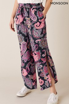 Monsoon Blue Paisley Cropped Trousers In Lenzing™ EcoVero™