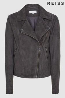Reiss Grey Luna Suede Biker Jacket