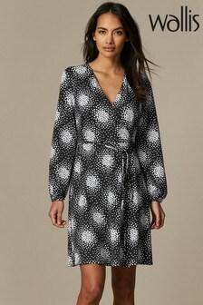 Wallis Petite Black Cluster Heart Wrap Dress