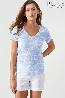 Pure Collection White Linen Jersey V-Neck T-Shirt
