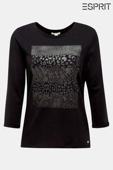 Esprit Black 3/4 Sleeve T-Shirt With Animal Print