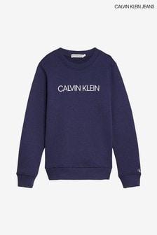 Calvin Klein Blue Jeans Institutional Logo Sweatshirt