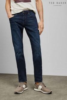 Ted Baker blauwe rechte jeans met lichte wassing