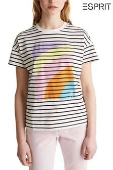 Esprit Gestreiftes T-Shirt mit Regenbogenprint vorne, Natur