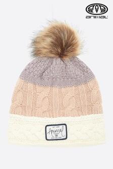 Pudroworóżowe, dzianinowa czapka beanie Animal Bollo