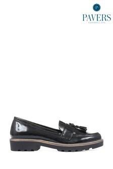 Pavers Black Patent Ladies Loafers