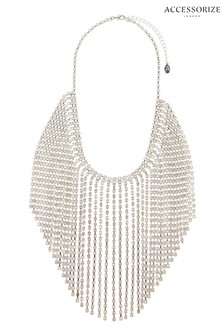 Accessorize Clear Cupchain Waterfall Collar Necklace