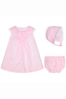Miranda Baby Girls Pink Cotton Dress Set