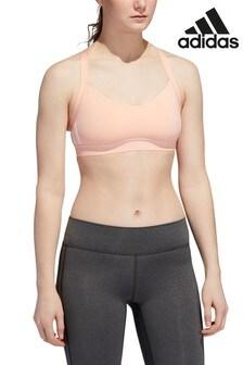 Розовый спортивный бюстгальтер с 3 полосками adidas All Me