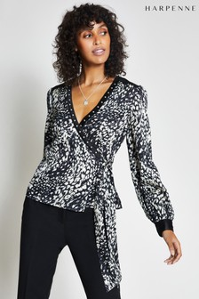 Harpenne Black Animal Print Wrap Top