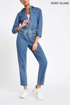 River Island Denim Tencel® Susie Jumpsuit