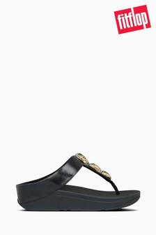 FitFlop™ Black Fino Metallic Fleck Stone Toe Thong Sandals