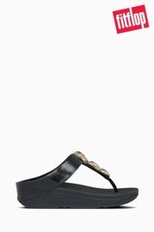 FitFlop™ Black Fino Metallic Fleck Stone Toe Thong Sandals