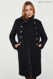 Mint Velvet Black Military Bouclé Coat