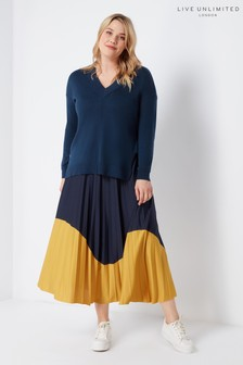 Live Unlimited Navy Colourblock Jersey Pleated Skirt