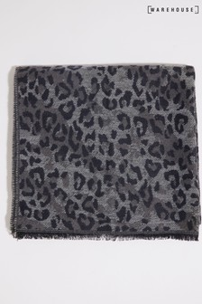 Warehouse Grey Leopard Print Light Scarf