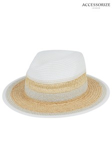 Accessorize White Pretty Mixed Braid Straw Fedora Hat