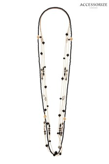 Accessorize Black Jennie Beaded Rope Necklace