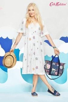 Кремовое хлопковое платье миди с цветочным принтом Cath Kidston® Fearne Dream