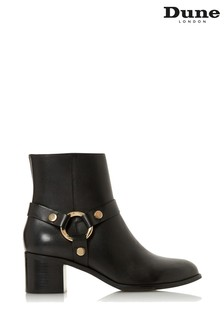 Dune London Black Leather Pipkin Harness Ankle Boots