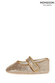 Monsoon Baby Brianna Gold Glitter Booties