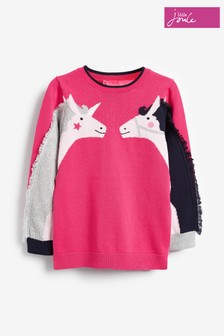 Joules Pink Geegee Intarsia Knit Jumper