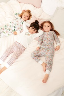Floral Snuggle Fit Pyjamas With Rabbit Embroidery Detail Three Pack (9mths-8yrs)